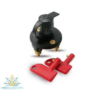 12~24v Marine Battery Isolator Switch with Water-Resistant Rubber Cap & 2 Keys