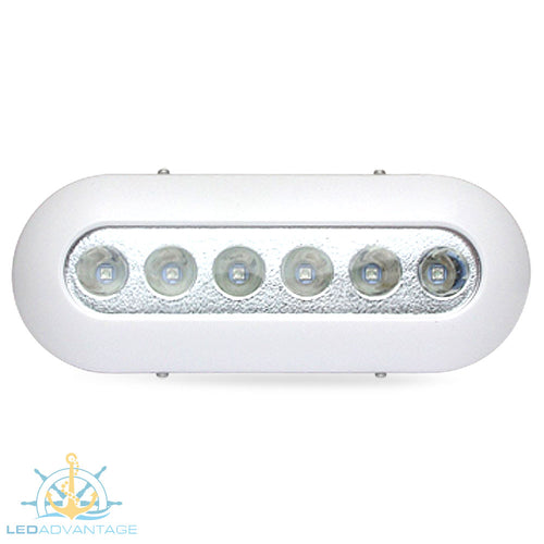 12v~24v 12 Watt White Polymer Underwater Boat Transom LED Light (White)