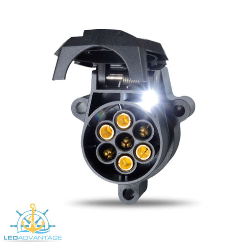 Ark 7 Pin Large Round LED Illuminated Night Trailer Socket