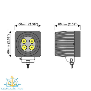 12v~24v 12 Watt Epistar LED Compact Boat Marine Flood Light (Black Housing)
