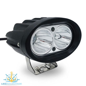 12v~24v 20 Watt Cree LED Marine Fly-bridge Deck Spot Work Light (Black Housing)
