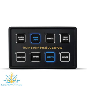 12v~24v Innovative Deluxe 8 Gang Capacitive Touch Screen Blue Backlit LED Panel