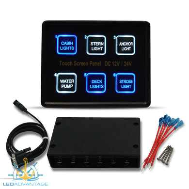 12v~24v Innovative Deluxe 6 Gang Capacitive Touch Screen Blue Backlit LED Panel