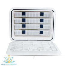 Load image into Gallery viewer, White Large Recessed White Innovative Tackle Box with 4 Trays (435mm x 335mm)