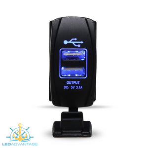 12v~24v Carling Style 3.1Amp Dual USB Charger with Water-Resistant Rubber Cap