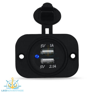 12v~24v Blue LED Illuminated Recessed Dual USB (2-Port) 3.1A Power Socket