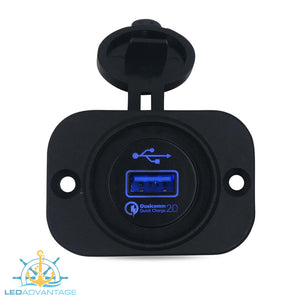 12v~24v Blue LED Backlit Illuminated Recessed QC 2.0 (Quick Charge 2.0) 2.4A USB Socket