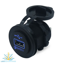 Load image into Gallery viewer, 12v~24v Blue LED Backlit Illuminated Recessed QC 2.0 (Quick Charge 2.0) 2.4A USB Socket