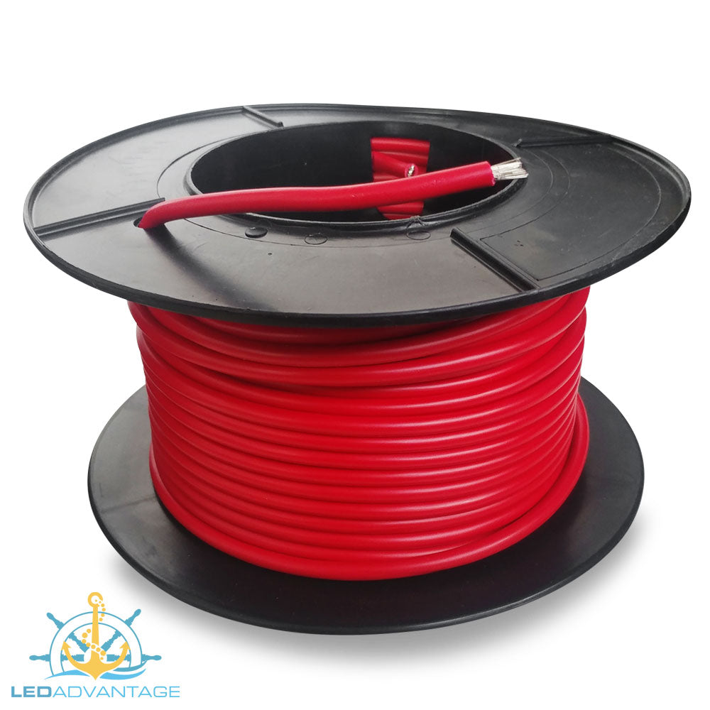 8mm² 74 Amp Marine Grade Tinned Twin-Core Wire - Red (Sold By The Meter)
