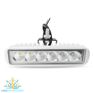 12v~24v 18 Watt SeaOrk LED FlyBridgeSpreader Flood Light (White Housing)