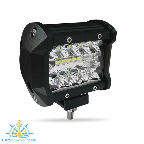 12~24v 18 Watt Triple Row LED Work/Boat Light (Black Housing)