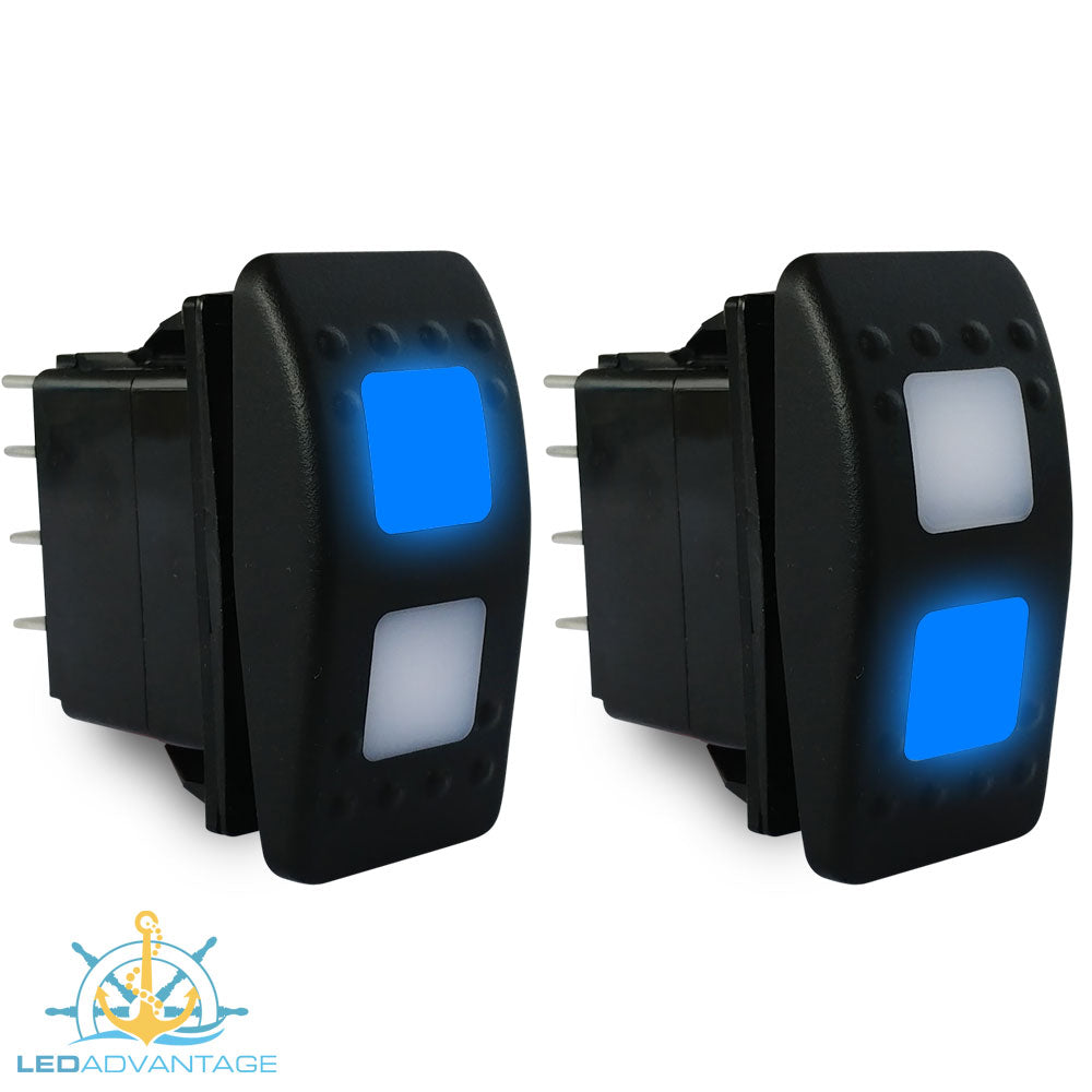 12v~24v Multiv-Series Blue LED Illuminated Momentary (On)/Off/(On) Three Way Rocker Switch