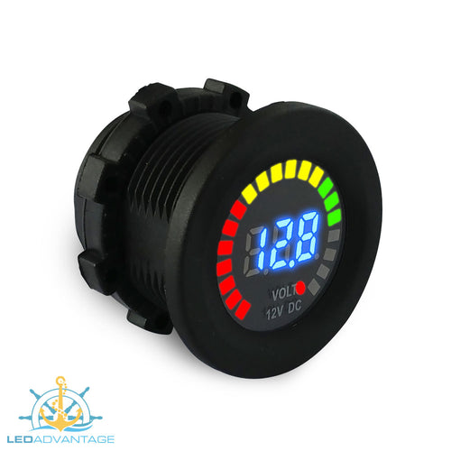 12v (5v~15v Range) Marine Compact Flush Mount Battery Digital Voltmeter