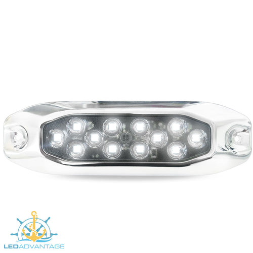 12v~24v 15 Watt Stainless Steel Underwater Submersible Boat LED Light (White)