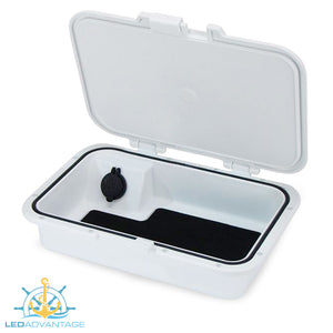 Glove/Helm Box with Dual USB Charger - White Housing with Seadek Pad