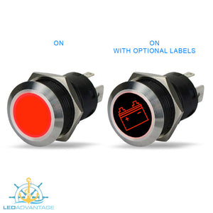 12v Stainless Steel 20A Red Backlit LED Illuminated Latching On/Off Push Switch (10-Pack)
