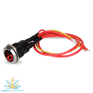 12v Stainless Steel 20A Red Backlit LED Illuminated Latching On/Off Push Switch
