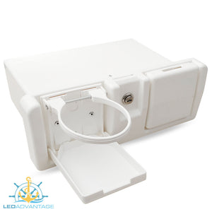 Deluxe White Lockable Glove Storage Box - Folding Drink Holders