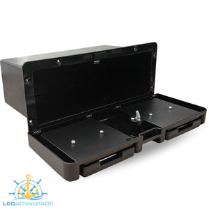 Deluxe Black Lockable Glove Storage Box - Folding Drink Holders