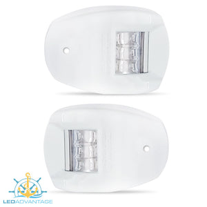 12v White Marine Compact Style Port & Starboard LED Navigation Lights