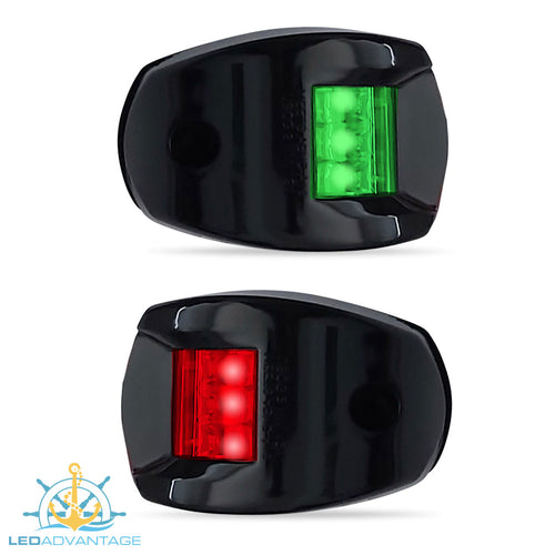 12v Black Marine Compact Style Port & Starboard LED Navigation Lights