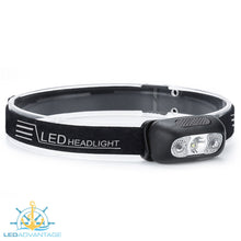 Load image into Gallery viewer, XDLED-Fire Black 2 Watt LED Light-Weight Fishing Headlamp (White + Anti-Glare Red LED)