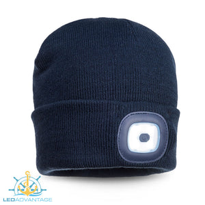 Beanie LED Head Light USB Rechargeable (Available in: Black, Navy, Yellow & Orange)