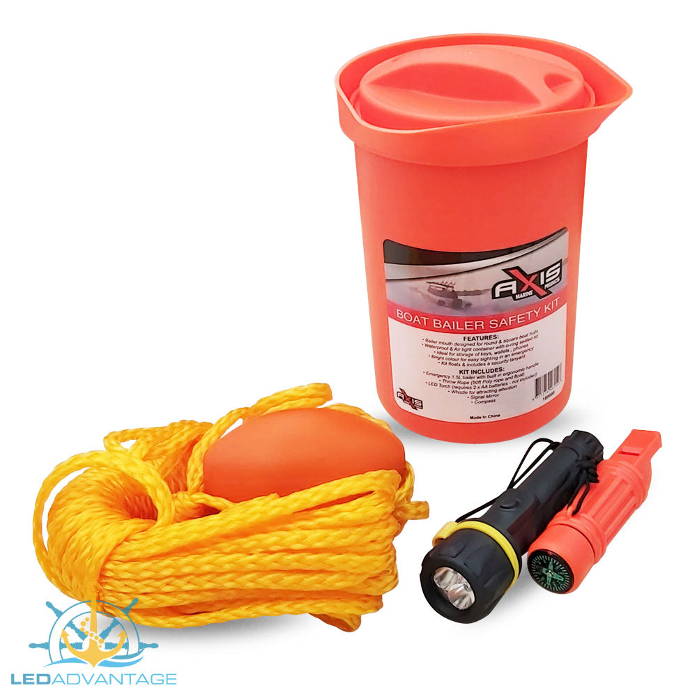 Axis Safety Boat Bailer Kit (Rope & Float, Whistle, Mirror & Compass)