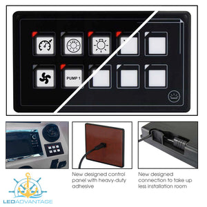 12v~24v Multivolt 10 Gang Boat Digital Membrane Touch Control Panel Kit (Momentary Switch)