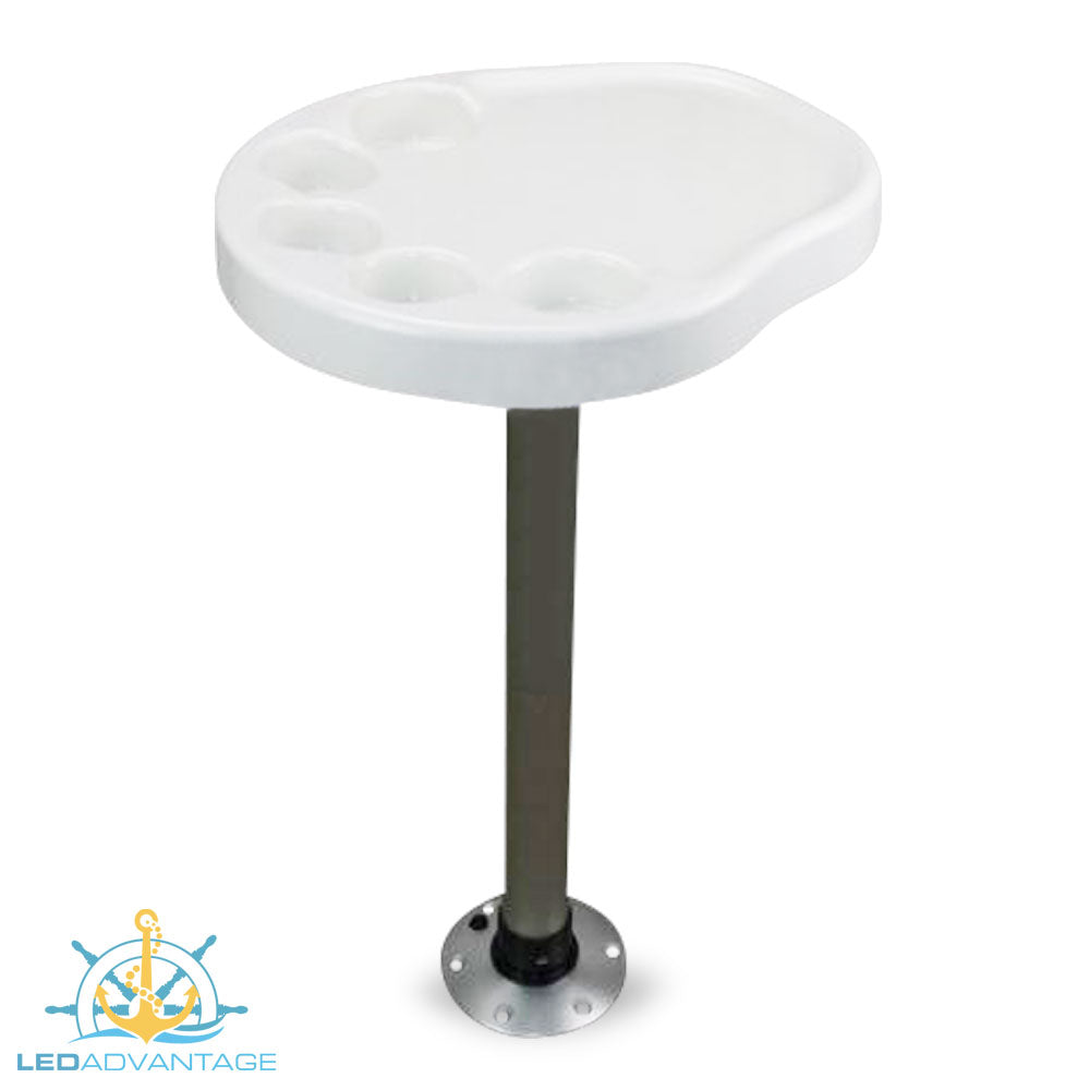 400mm x 470mm White Palm Table Top, Post & Base