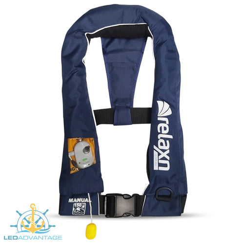Relaxn OFFSHORE Slim Blue Manual PFD Life Jacket (150N) Suits 40KG+