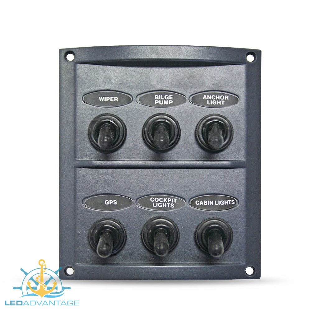 12v/24v Splashproof Grey 6 Gang Switch Panel