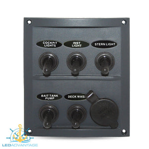 12v/24v Splashproof Grey 5 Gang  & Power Socket Switch Panel