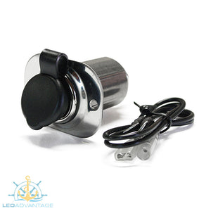 12v Stainless Steel Power Socket & Waterproof Cap