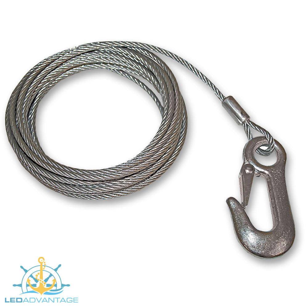 Galvanised Steel Trailer Winch Cable with Snap Hook (3 Sizes Available)
