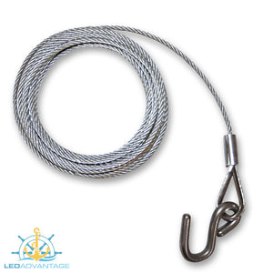 Galvanised Steel Trailer Winch Cable with Stainless Steel 'S' Hook (4 Sizes Available)