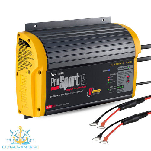 12v/24v Pro Sport Series 12 On-Board Marine Battery Charger System (12A Dual Bank)