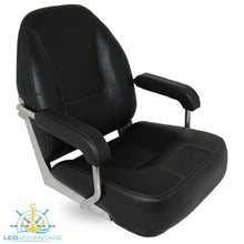 Load image into Gallery viewer, Deluxe Heavy Duty Marine Vinyl Helmsman's/Captain Seat - Black