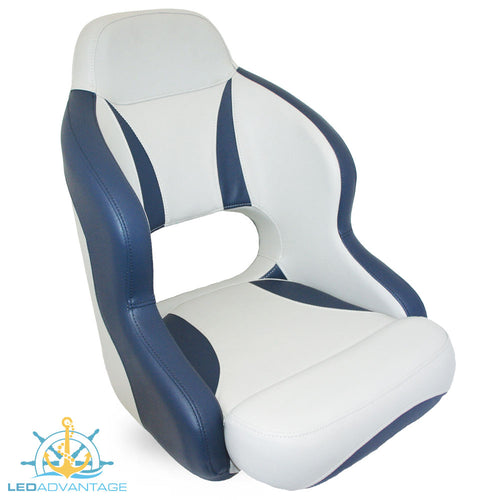 Compact Bucket Style Helmsman's Seat - Dark Blue/Light Grey