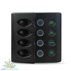12v/24v Waterproof 4 Gang LED Backlit Switch Panel with Circuit Breakers