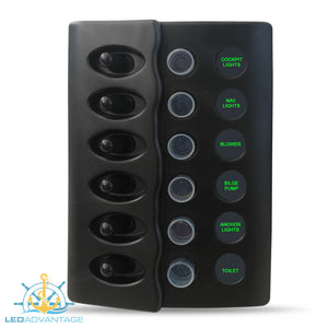 12v/24v Waterproof 6 Gang LED Backlit Switch Panel with Circuit Breakers