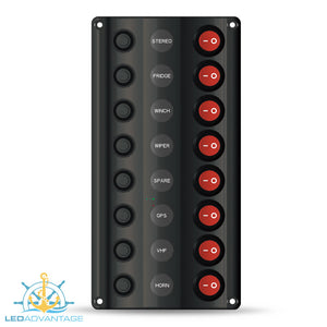 12v Wave 8 Gang LED Low Profile Switch Panel