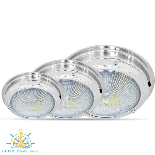 12v 20-LED Stainless Steel Round Ceiling Mount Dome Lights (Available in 4.4