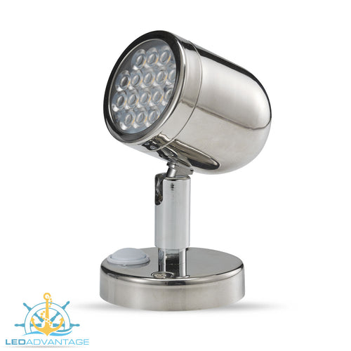 12v 3.2w Stainless Steel Bunk LED Swivel Reading Light & On/Off Switch