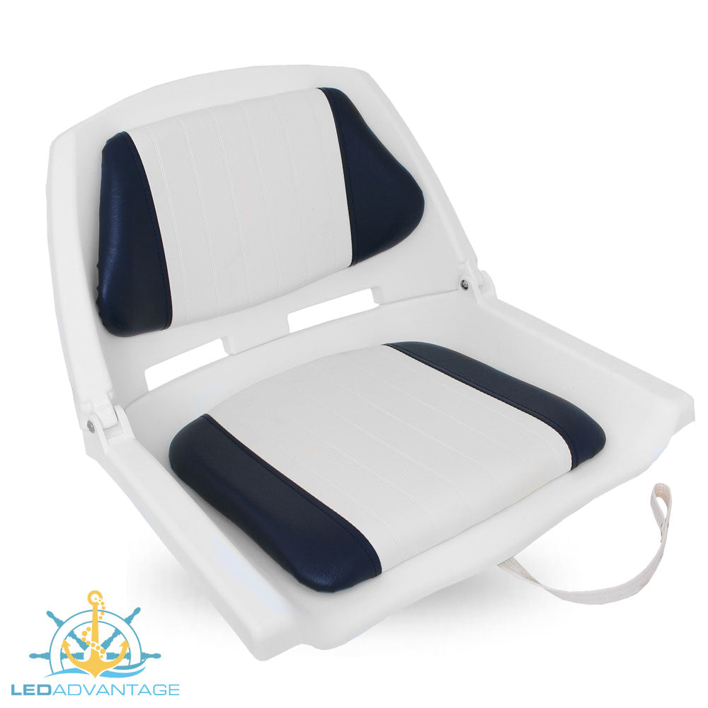 Basic Padded Folding Seat (White Seat Shell - Blue/White pad)