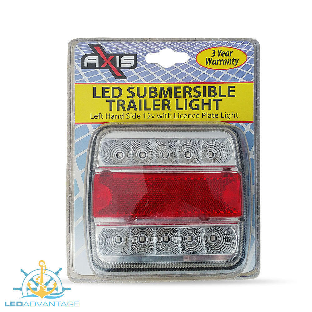 12v Submersible Waterproof Combination (Stop/Tail/Indicator/Licence Plate) Trailer Light - Left Only