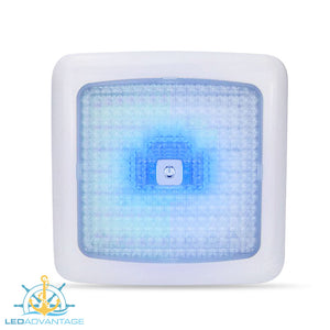 12v 7w Dual Blue/White LED Touch Cabin Ceiling Light & Dimmer (White Housing)