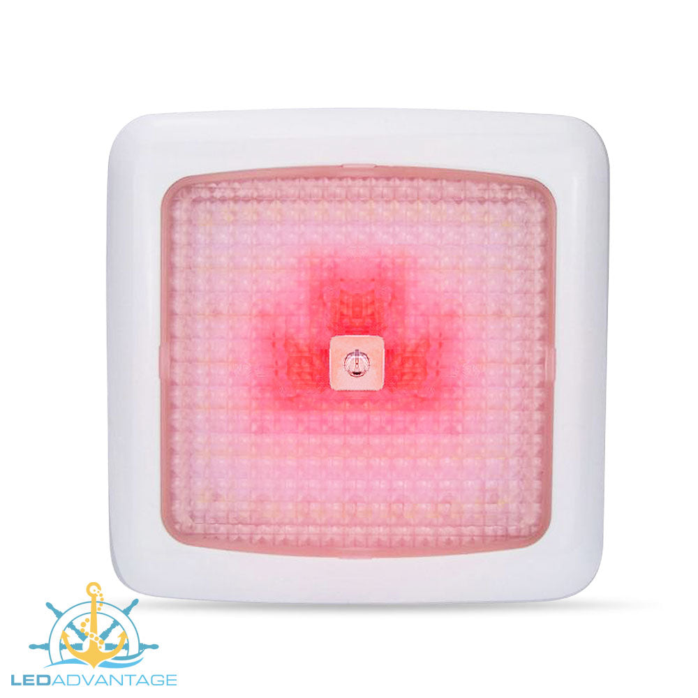 12v 7w Dual Red/White LED Touch Cabin Ceiling Light & Dimmer (White Housing)