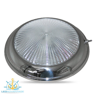 "12v 5.2"" (132mm) 3w Stainless Steel Low Profile Dome Light & On/Off Switch"