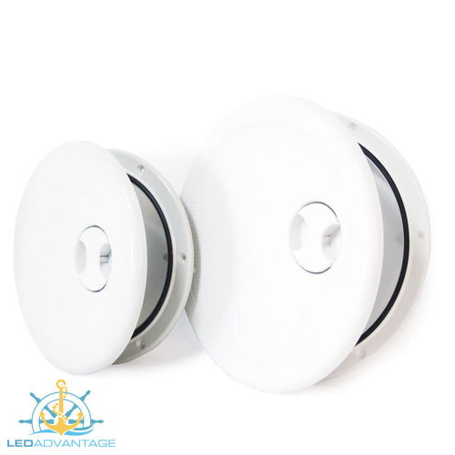 Round Access/Inspection & Hinged Lid Ports - White (Available in 8